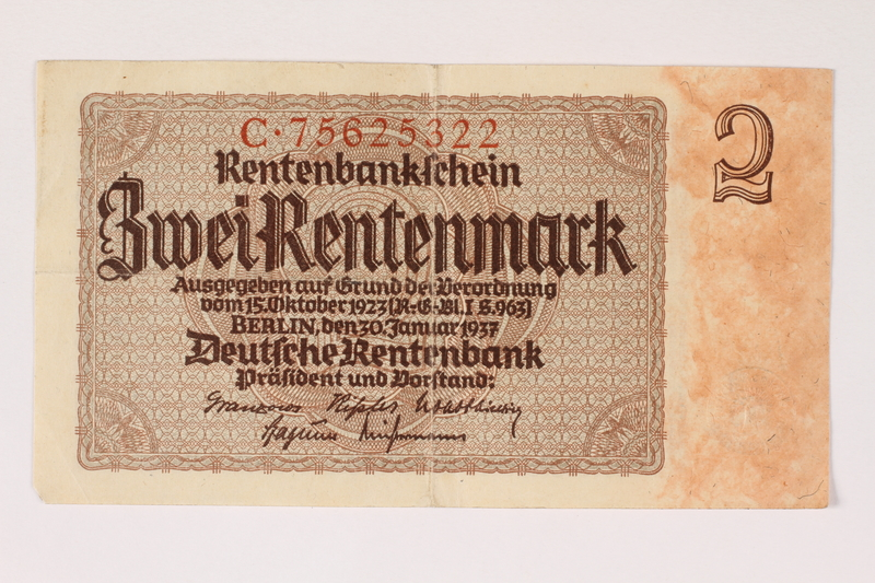 1996.28.21 front Nazi Germany, 2 Rentenmark note
