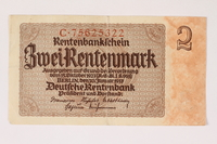 1996.28.21 front Nazi Germany, 2 Rentenmark note  Click to enlarge