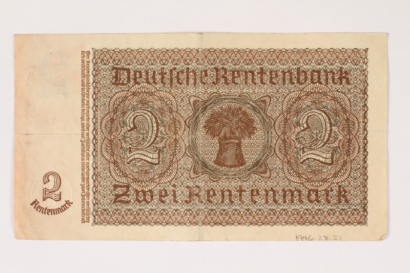 1996.28.21 back Nazi Germany, 2 Rentenmark note