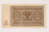 1996.28.21 back Nazi Germany, 2 Rentenmark note  Click to enlarge