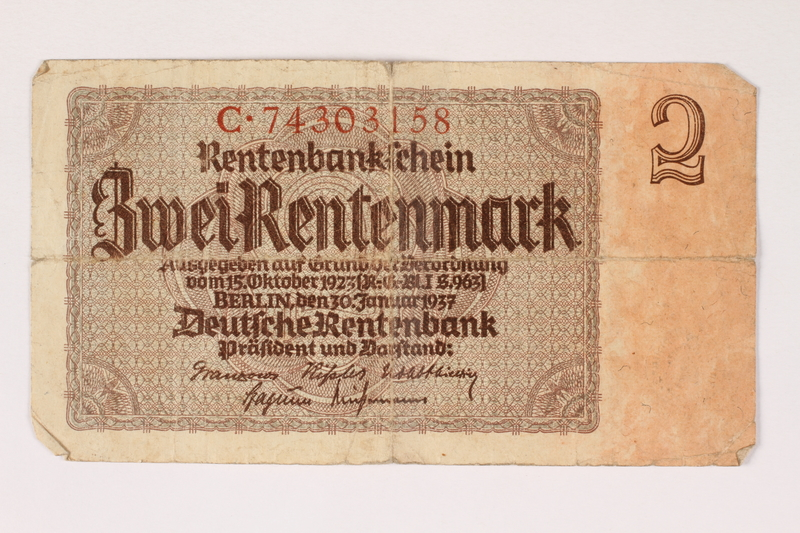 1996.28.22 front Nazi Germany, 2 Rentenmark note