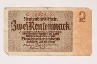 1996.28.22 front Nazi Germany, 2 Rentenmark note  Click to enlarge