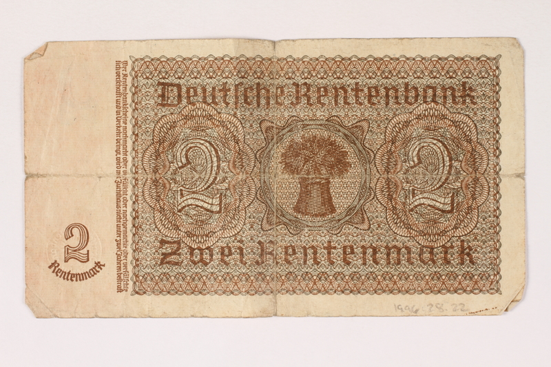 1996.28.22 back Nazi Germany, 2 Rentenmark note