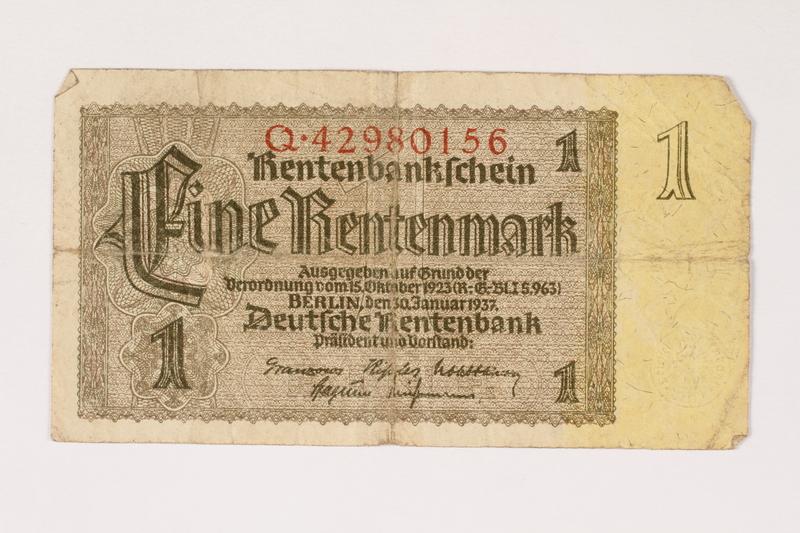 1996.28.23 front Nazi Germany, 1 rentenmark