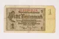 1996.28.23 front Nazi Germany, 1 rentenmark  Click to enlarge