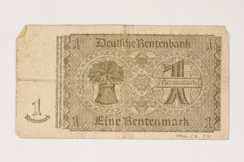 1996.28.23 back Nazi Germany, 1 rentenmark