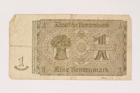 1996.28.23 back Nazi Germany, 1 rentenmark  Click to enlarge