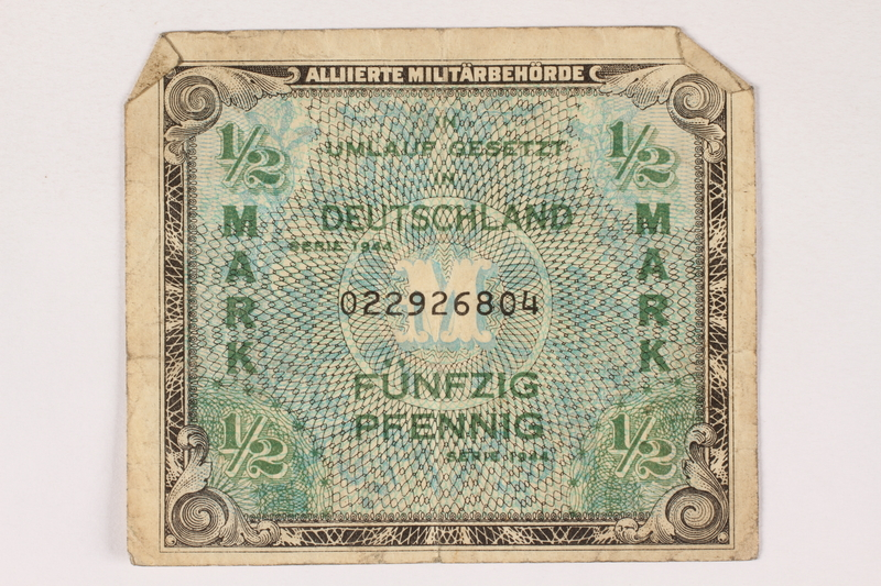 1996.28.24 front Allied Military Authority currency, 1/2 mark, for use in Germany