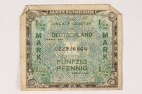 1996.28.24 front Allied Military Authority currency, 1/2 mark, for use in Germany  Click to enlarge