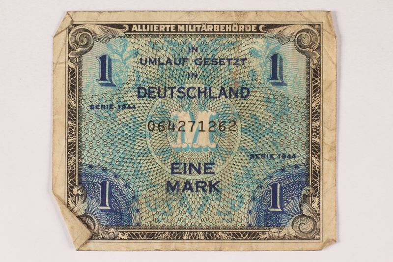 1996.28.25 front Allied Military Authority currency, 1 mark, for use in Germany