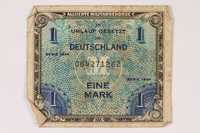 1996.28.25 front Allied Military Authority currency, 1 mark, for use in Germany  Click to enlarge