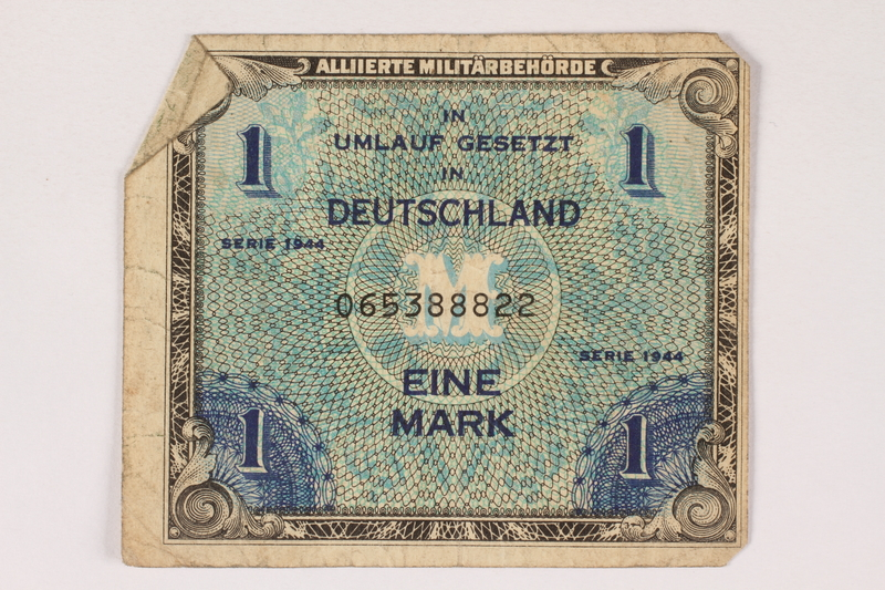 1996.28.26 front Allied Military Authority currency, 1 mark, for use in Germany