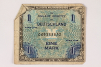 1996.28.26 front Allied Military Authority currency, 1 mark, for use in Germany  Click to enlarge