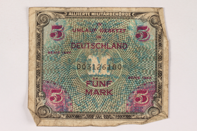 1996.28.27 front Allied Military Authority currency, 5 mark, for use in Germany