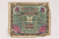 1996.28.27 front Allied Military Authority currency, 5 mark, for use in Germany  Click to enlarge