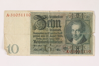 1996.28.28 front Weimar Germany, 10 reichsmark  Click to enlarge