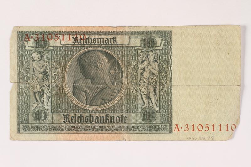 1996.28.28 back Weimar Germany, 10 reichsmark