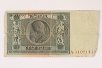 1996.28.28 back Weimar Germany, 10 reichsmark  Click to enlarge