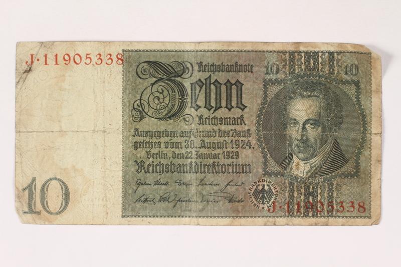 1996.28.29 front Weimar Germany, 10 reichsmark