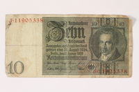 1996.28.29 front Weimar Germany, 10 reichsmark  Click to enlarge