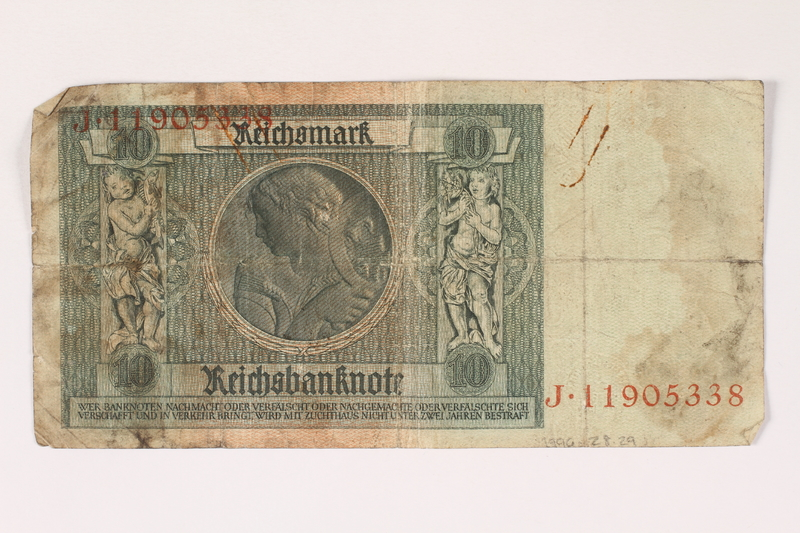 1996.28.29 back Weimar Germany, 10 reichsmark
