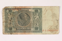 1996.28.29 back Weimar Germany, 10 reichsmark  Click to enlarge