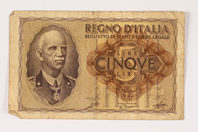 1996.28.30 front Italy, 5 lire