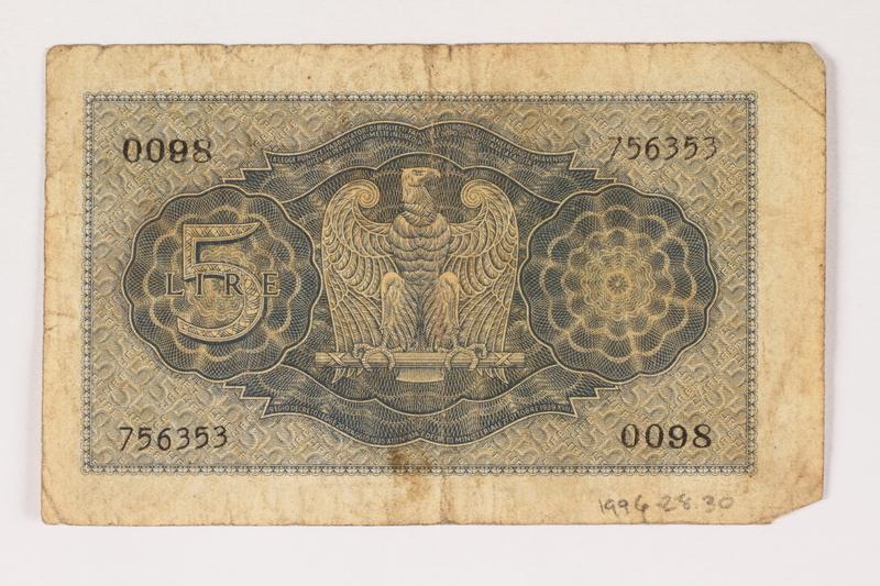 1996.28.30 back Italy, 5 lire