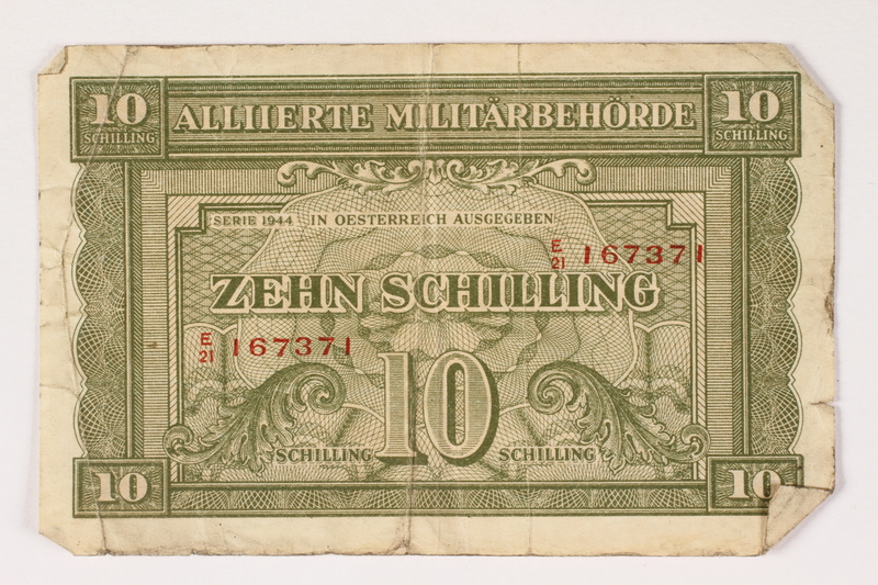 1996.28.31 front Allied Military Authority, 10 schilling