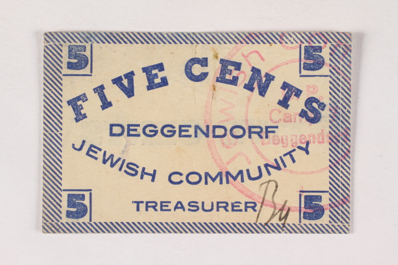 2007.162.3 front Deggendorf displaced persons camp scrip, 5-cent note, acquired by a former director
