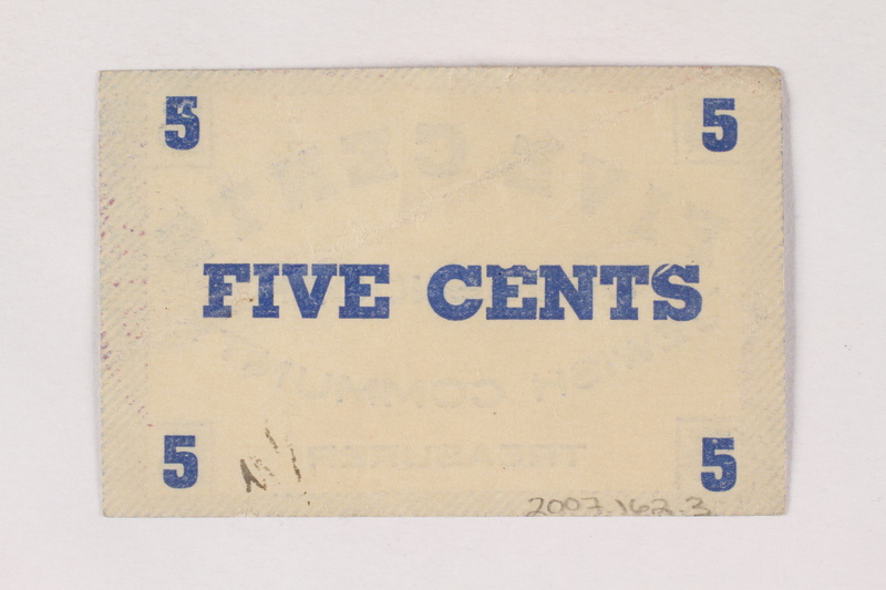2007.162.3 back Deggendorf displaced persons camp scrip, 5-cent note, acquired by a former director