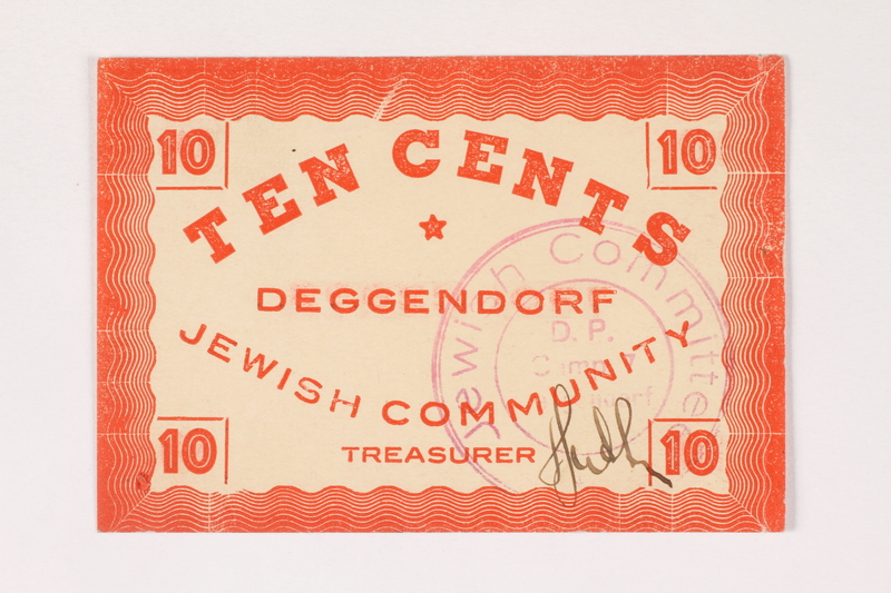 2007.162.4 front Deggendorf displaced persons camp scrip, 10-cent note, acquired by a former director