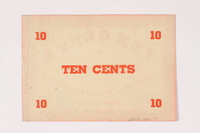 2007.162.4 back Deggendorf displaced persons camp scrip, 10-cent note, acquired by a former director  Click to enlarge