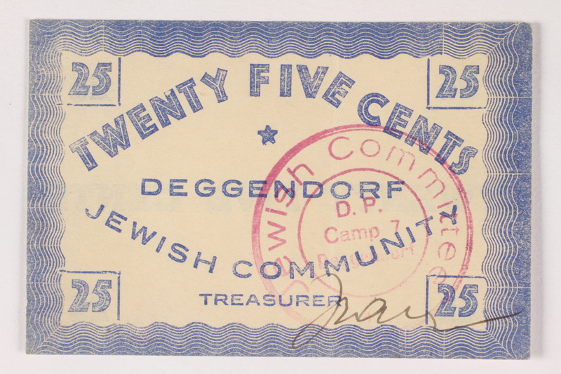 2007.162.5 front Deggendorf displaced persons camp scrip, 25-cent note, acquired by a former director
