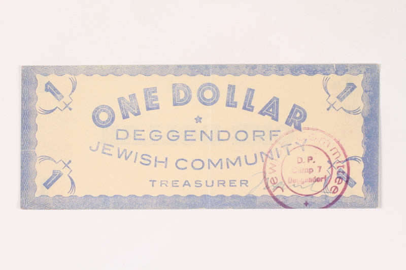 2007.162.7 front Deggendorf displaced persons camp scrip, 1-dollar note, acquired by a former director
