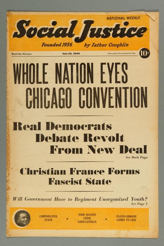 2016.184.233.9 front Social justice, July 22, 1940, Vol. 6, no. 4