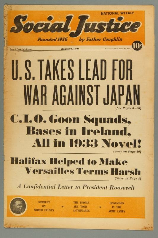 2016.184.233.27 front Social justice, August 4, 1941, Vol. 8, no. 5