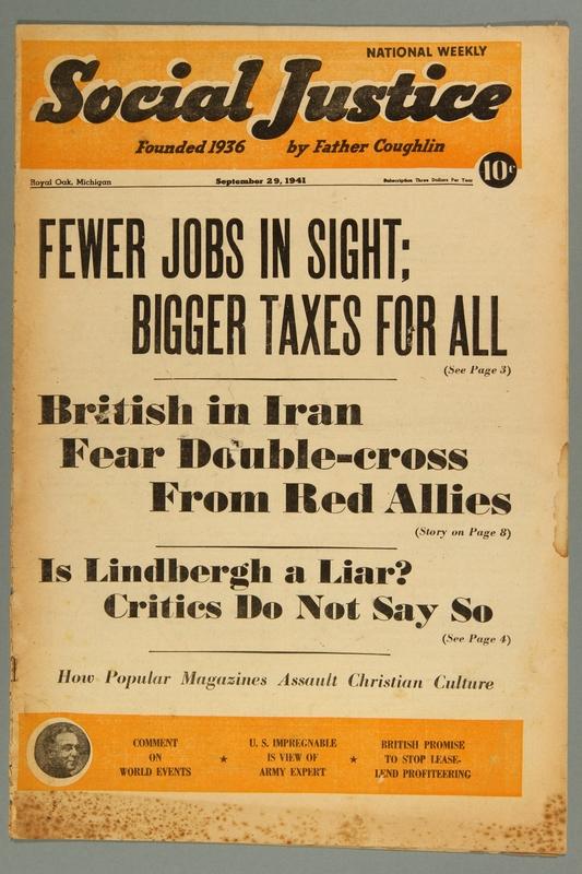 2016.184.233.30 front Social justice, Septembert 29, 1941, Vol. 8, no. 13