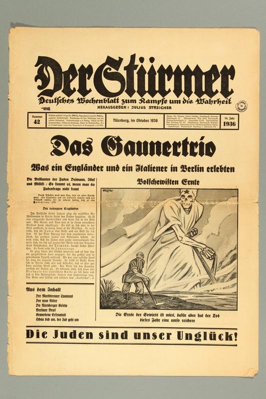 2016.184.236.2 front Der Stürmer, Nummer 42, Oktober 1936, 14. Jahr 1936