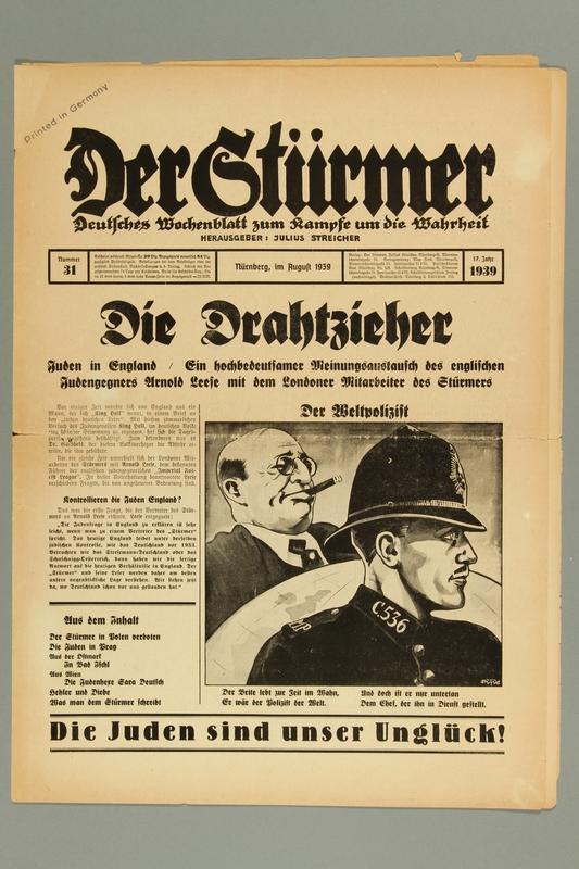 2016.184.236.6 front Der Stürmer, Nummer 31, August 1939, 17. Jahr 1939