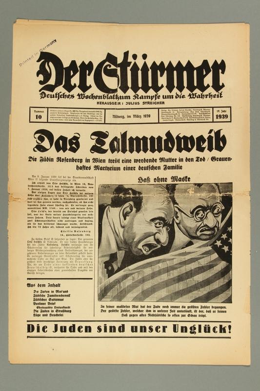 2016.184.236.7 front Der Stürmer, Nummer 10, März 1939, 17. Jahr 1939