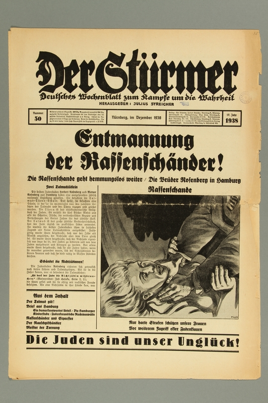 2016.184.236.10 front Der Stürmer, Nummer 50, Dezember 1938, 17. Jahr 1938