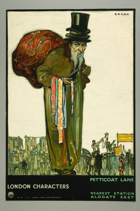 2016.184.244 front London Transport Petticoat Lane poster of a Jewish peddler