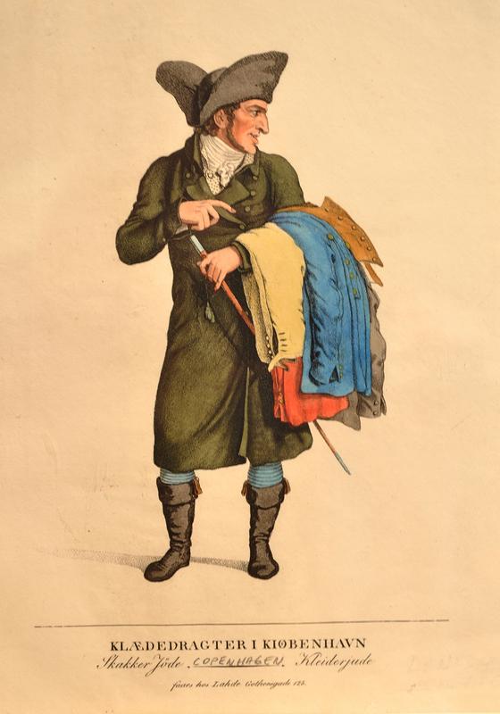 Color print of a Jewish clothes peddler in Copenhagen