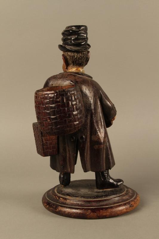 2016.184.255 back Biedermayer hand carved wooden figure of a Jewish Peddler