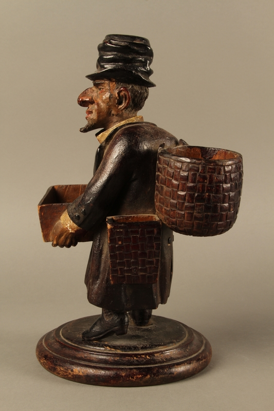 2016.184.255 left side Biedermayer hand carved wooden figure of a Jewish Peddler