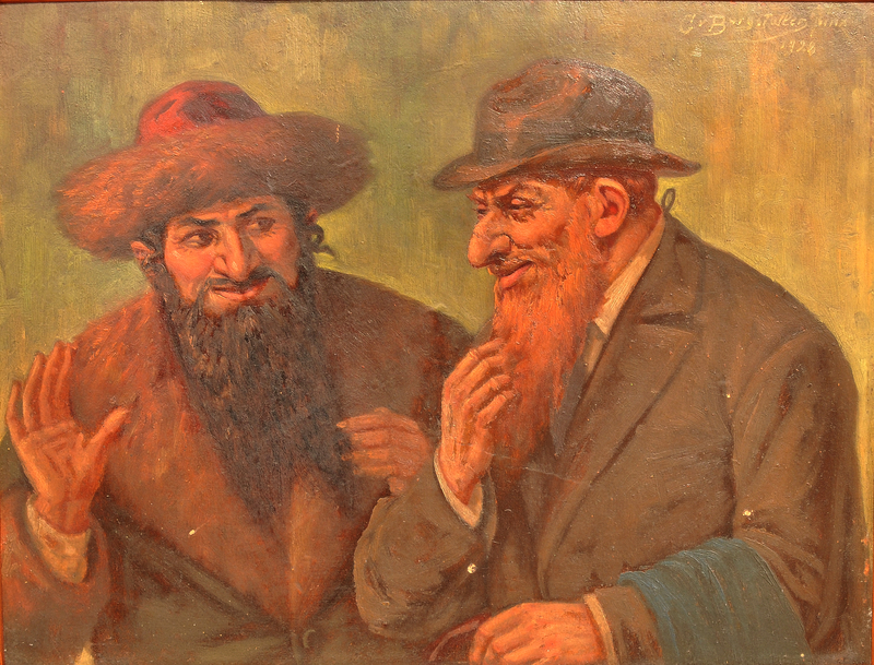 Painting of two Jewish men deep in conversation