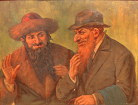 Painting of two Jewish men deep in conversation  Click to enlarge
