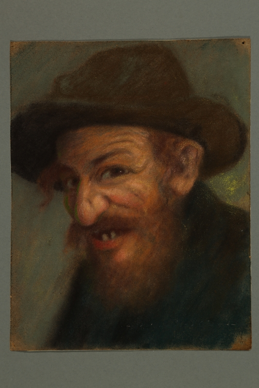 2016.184.262 front Pastel portrait of a Jewish man with a toothy smile