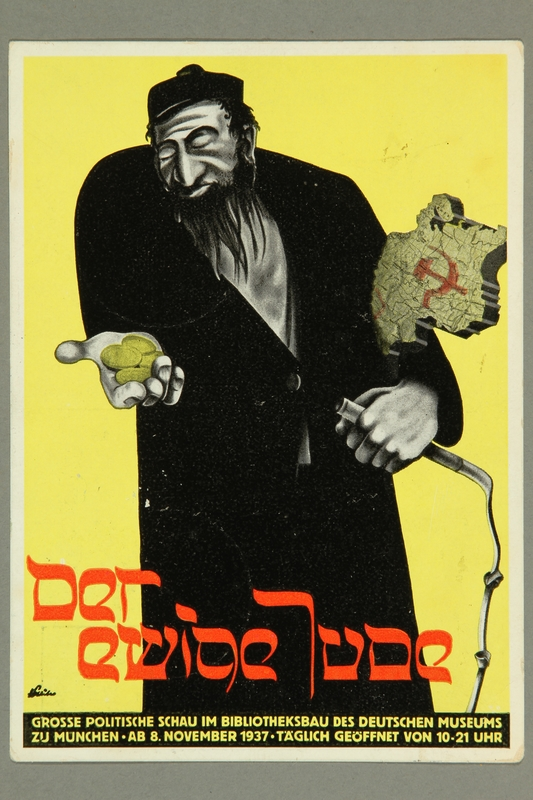 2016.184.272 front Postmarked postcard of the Eternal Jew for an antisemitic exhibit